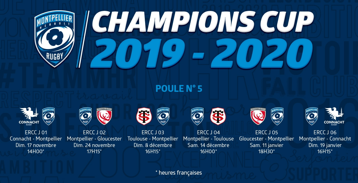 Calendrier Champions Cup 2019.Le Calendrier De Champions Cup 2019 2020 Mhr